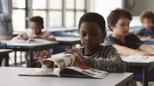 vidéos et rushes de elementary male student reading book in classroom - enfance