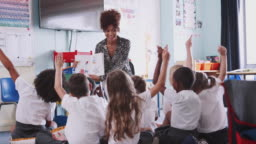 Elementary Pupil Wearing Uniform Raises Hand To Answer Question As Female Teacher Reads Book