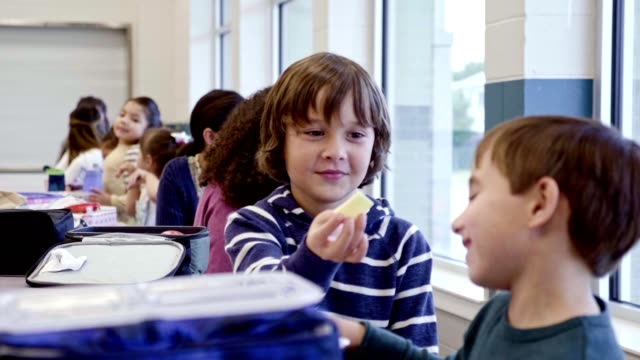 elementary school boys trade items from their lunch - lunch stock videos & royalty-free footage