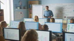 Elementary School Class: Teacher Uses Interactive Digital Whiteboard, Explains Lesson to Diverse Group of Smart Children. Kids getting Modern Education, Learn Computer Science, Software Programming
