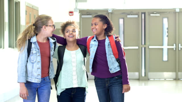 elementary school girls standing in hallway - only girls stock videos & royalty-free footage