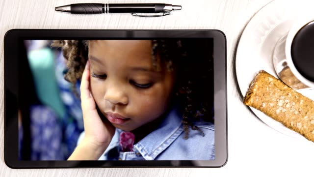 elementary school student on parent's tablet. - protein bar stock videos & royalty-free footage