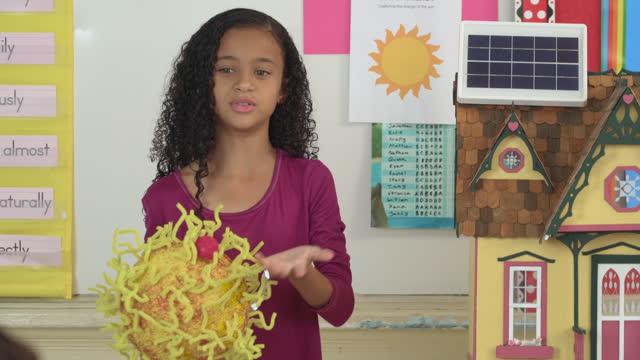 Elementary School Student Presenting Solar Energy Project