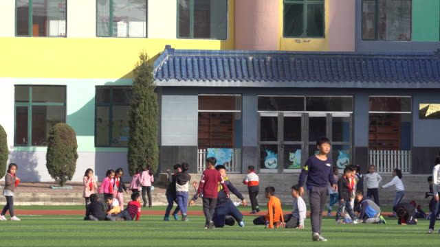 Elementary school students playing on on synthetic playground Schools across the country have been ordered to inspect and remove the 'toxic' running...