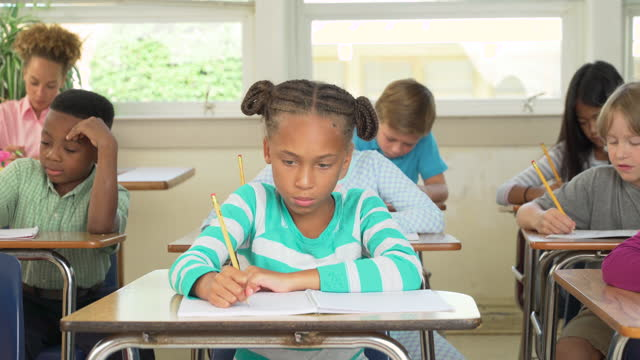 elementary school students taking a test - educational exam stock videos & royalty-free footage