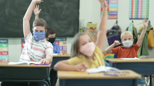 vídeos de stock e filmes b-roll de elementary school students wearing protective face masks in the classroom - educação