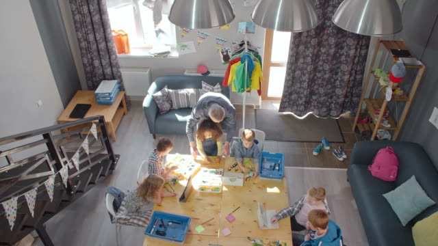 elementary students at lesson - table top view stock videos & royalty-free footage