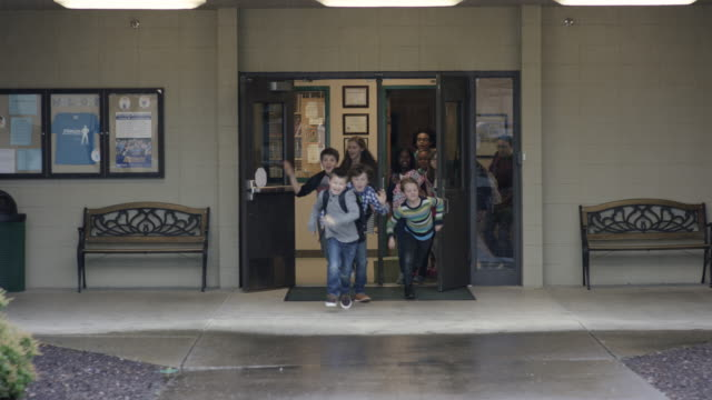 Elementary students being released from school