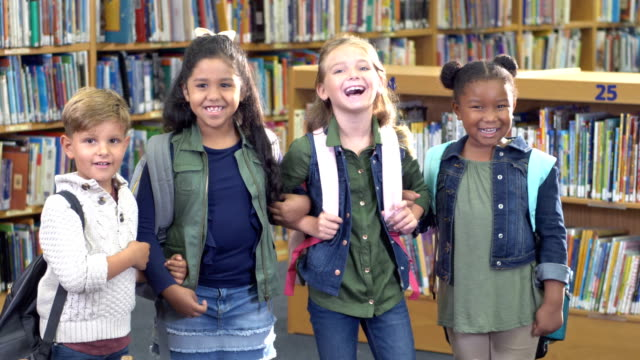elementary students in school library - 6 7 years stock videos & royalty-free footage