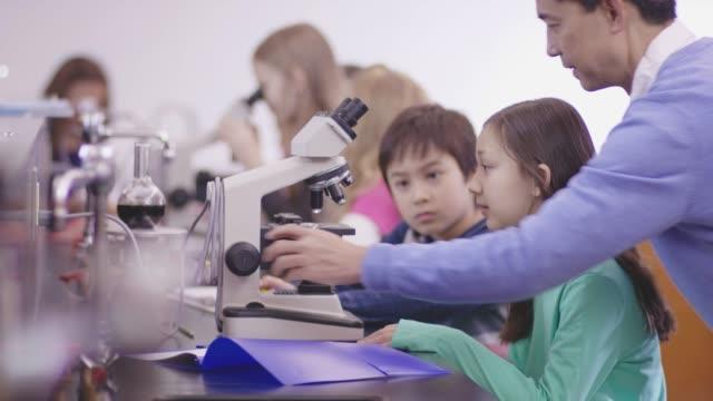 stockvideo's en b-roll-footage met elementaire studenten die studeren wetenschap in een laboratorium met behulp van een microscoop met behulp van hun etnische volwassen mannelijke leraar. - fatcamera