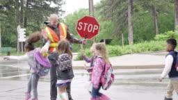 Elementary Students Walking Across Street
