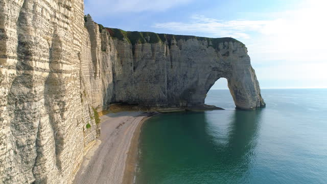 elephant cliff in etretat commune / normandy, france - beach stock videos & royalty-free footage