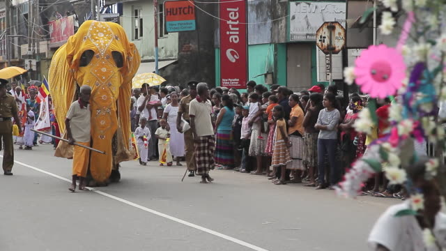 stockvideo's en b-roll-footage met ms elephant dressed in gold parades in seenigama annual perahern parade in buddhist procession audio / sinigama, southern province, sri lanka - sri lankaanse cultuur