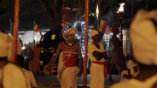 ms elephants and dancers parade in buddhist festival or procession 'esala perahera' (festival of tooth) audio / kandy, central province, sri lanka - sri lankan culture stock videos and b-roll footage