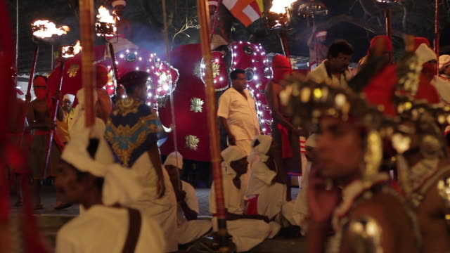 ms elephants and dancers parade in buddhist festival or procession 'esala perahera' (festival of tooth) audio / kandy, central province, sri lanka - sri lankan culture stock videos & royalty-free footage