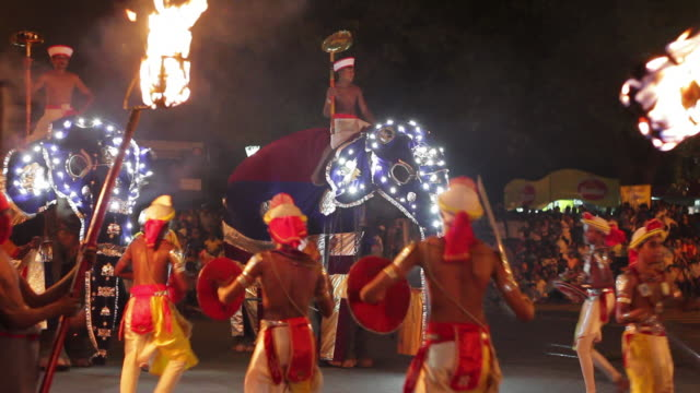 ms elephants and sword carrying dancers parade in buddhist festival or procession 'esala perahera' (festival of tooth) audio / kandy, central province, sri lanka - traditional ceremony stock videos and b-roll footage