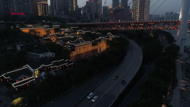 r/t ws ha elevated crane shot of huguang guild hall illustrated at night in chongqing / chongqing, china - ship's bridge stock videos & royalty-free footage
