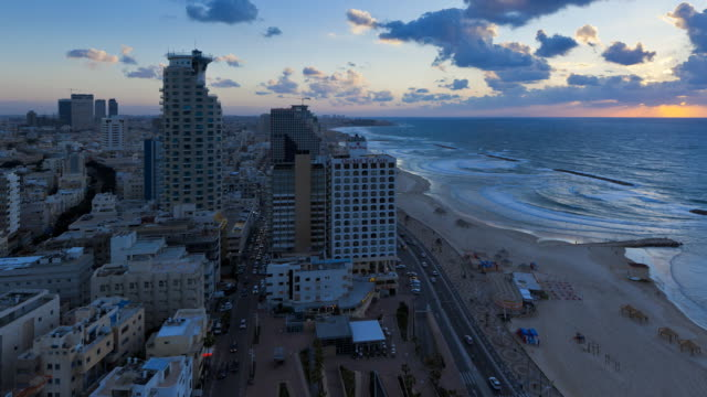 Elevated dusk view of the city beachfront,  Tel Aviv, Israel, Middle East