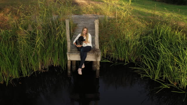 elevated front view of young woman with dog on rural pier - reed grass family stock videos & royalty-free footage