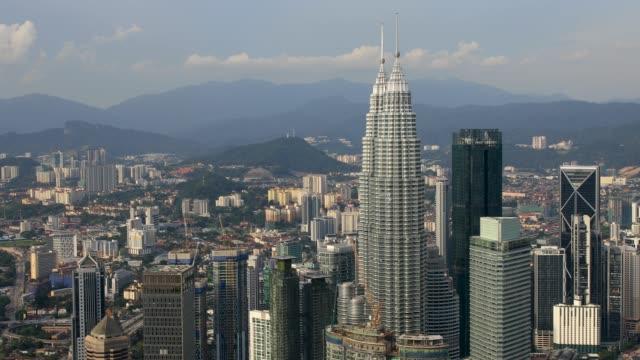 Erhöhten Panorama Blick auf Kuala Lumpur Twin Towers und Stadtbild