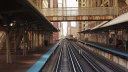 Elevated railway train on a bridge in Chicago Illinois USA