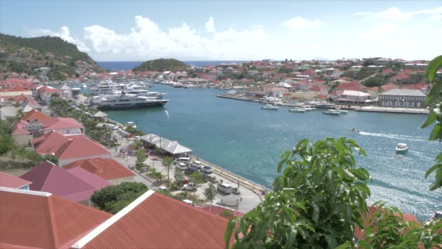 elevated shot of town and harbour, gustavia, st. barthelemy (st. barts) (st. barth), west indies, caribbean, central america - french overseas territory stock videos & royalty-free footage