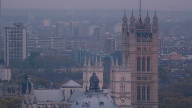 Elevated shot of Victoria Tower of the Palace of Westminster at dusk, London.