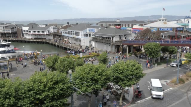 elevated shot over pier 39, fisherman's wharf, san francisco, california, united states of america, north america - pier 39 san francisco stock videos & royalty-free footage