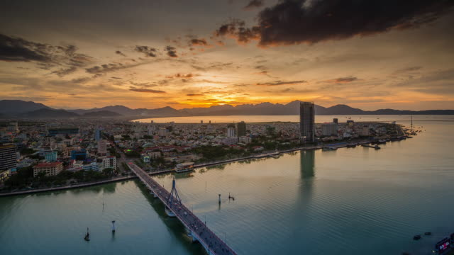 Elevated time lapse view of Sunset, Da Nang City, Vietnam