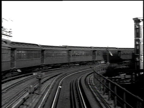 1916 pov elevated train going around a curve / new york, new york, united states - 1916 stock videos & royalty-free footage