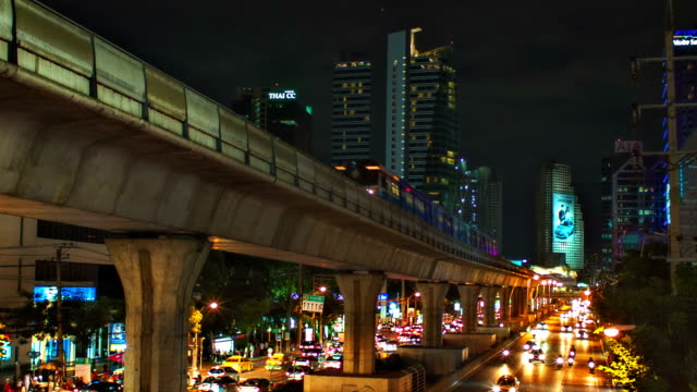 elevated train in the city of bangkok - elevated train stock videos & royalty-free footage