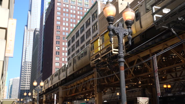 elevated train in the loop, chicago - chicago 'l' bildbanksvideor och videomaterial från bakom kulisserna