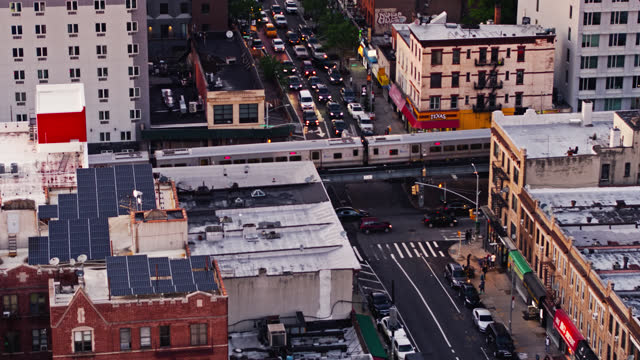 elevated train tracks in brooklyn - aerial - elevated train stock videos & royalty-free footage