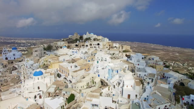 Elevated Video of Pyrgos  town, Santorini, Greece
