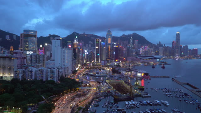 elevated view, central district of hong kong island, hong kong, china - hong kong island stock videos & royalty-free footage