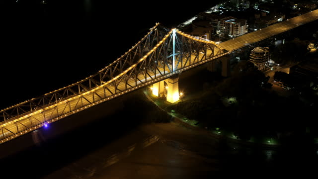 Elevated view night Timelapse of part of Brisbane Story Bridge from 70th floor