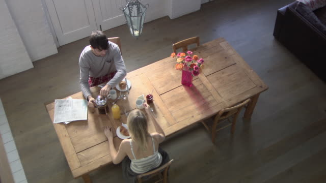 Elevated view of a couple having breakfast