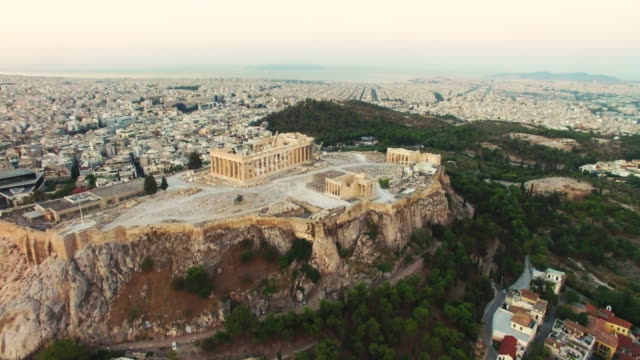 elevated view of acropolis of athens, greece - parthenon athens stock videos and b-roll footage