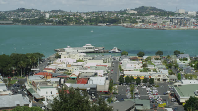 elevated view of devonport  - auckland ferry stock videos & royalty-free footage