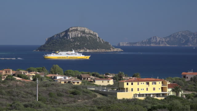 elevated view of ferry in sea at golfo aranci - sassari stock videos & royalty-free footage