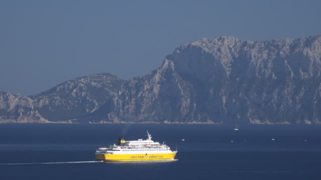 elevated view of ferry in sea - sassari stock videos & royalty-free footage