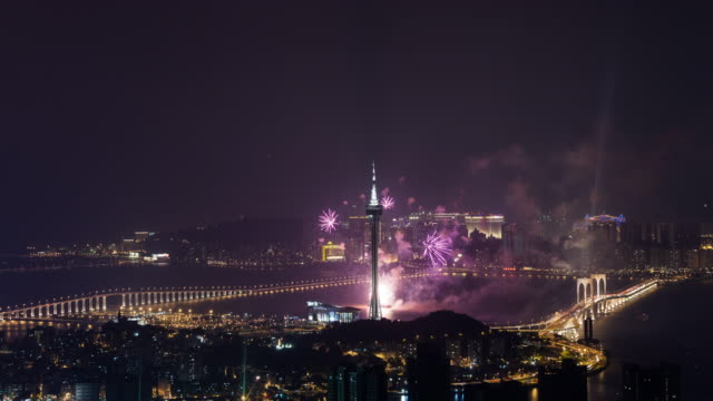T/L WS Elevated View of Fireworks Show / Macau, China