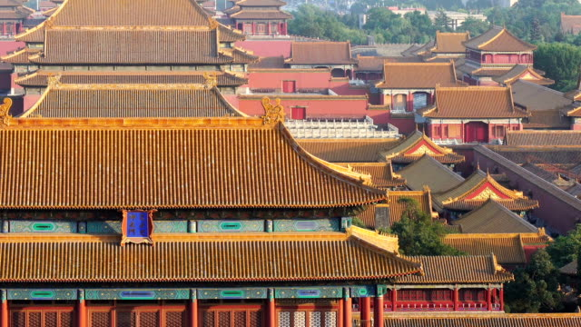 elevated view of forbidden city,beijing,china. - forbidden city stock videos & royalty-free footage
