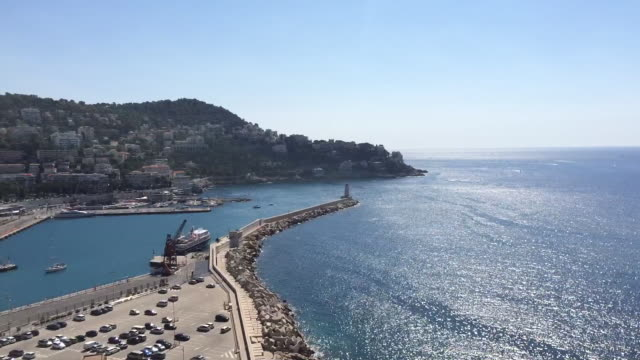 Elevated view of harbour of Nice city
