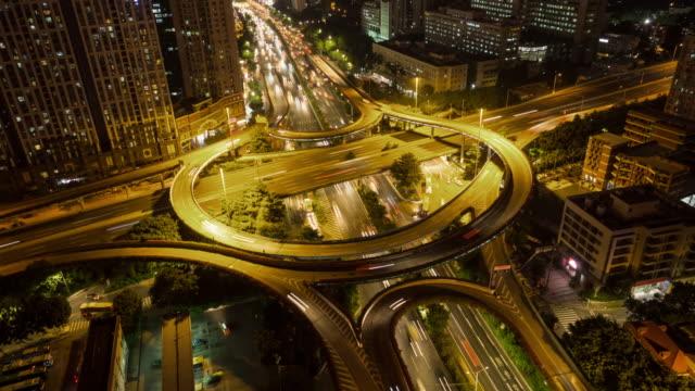 T/L WS Elevated View of Huangpu Overpass Night / Guangzhou, China