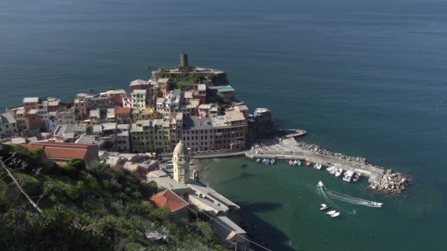 Elevated view of italian village Vernazza at the mediterranean sea