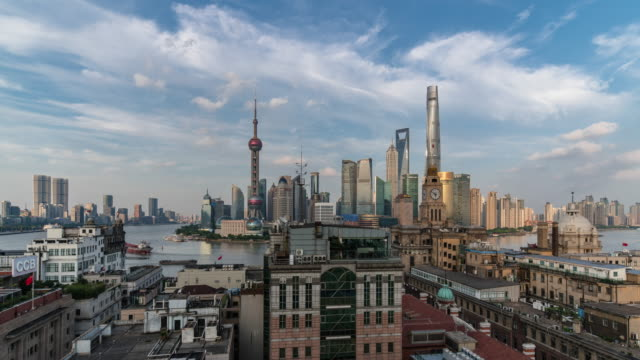 elevated view of landmarks of shanghai at dusk - the bund stock videos & royalty-free footage