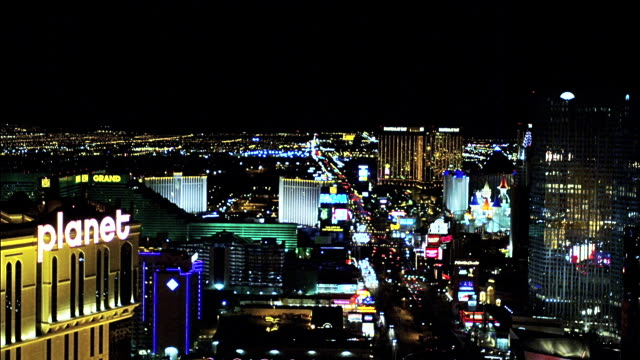 elevated view of las vegas boulevard looking south, nevada, usa. lights at night - bizarre fashion stock videos and b-roll footage