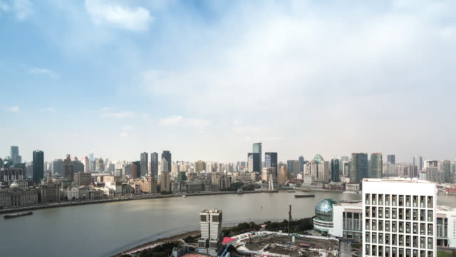 t/l ws ha zi elevated view of lujiazui financial center featuring oriental pearl tower / shanghai, china - river huangpu stock videos & royalty-free footage
