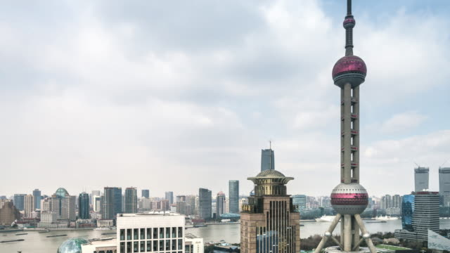 t/l ws ha pan elevated view of lujiazui financial center featuring oriental pearl tower / shanghai, china - river huangpu stock videos & royalty-free footage